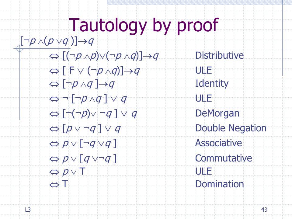 L343 Tautology by proof [ ¬ p  (p  q )]  q  [( ¬ p  p)  ( ¬ p  q)]  qDistributive  [ F  ( ¬ p  q)]  q ULE  [ ¬ p  q ]  q Identity  ¬ [