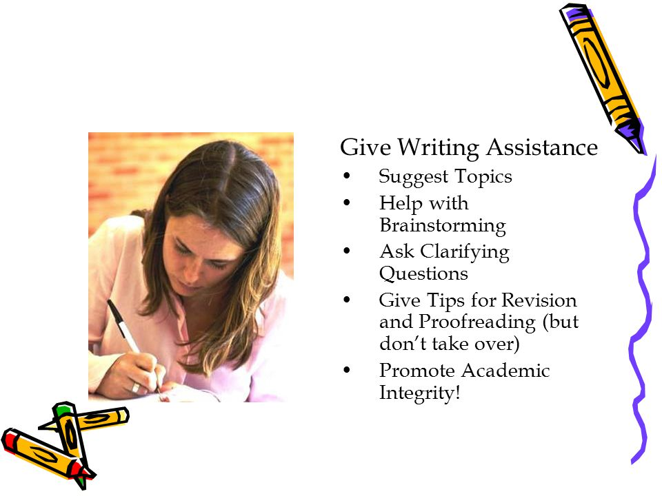 Give Writing Assistance Suggest Topics Help with Brainstorming Ask Clarifying Questions Give Tips for Revision and Proofreading (but don't take over)