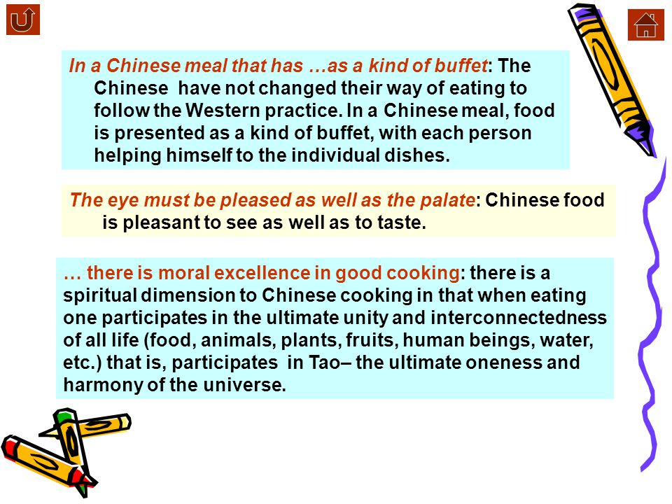 …all these and more challenge the palate: the rich variety of Chinese food will never fail to attract people It is a shared experience …others to cont