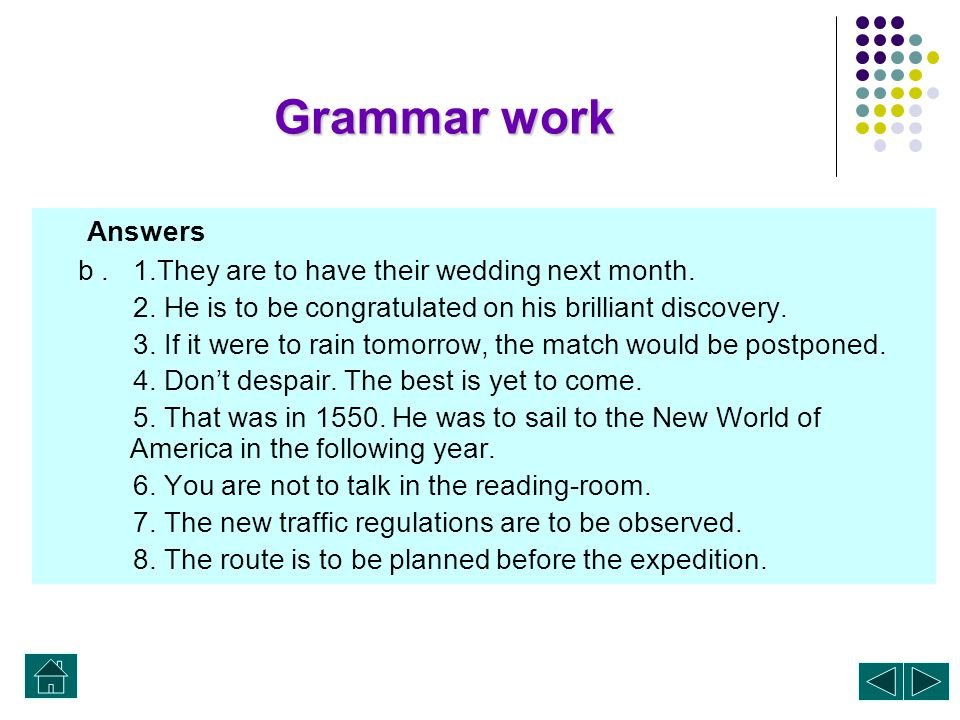 Grammar work Answers a. 1. to be fooled 2. to let 3. to blame 4. to be invited 5. to be hold 6. to come 7. to win 8. to be found 9. to do 10. to be so