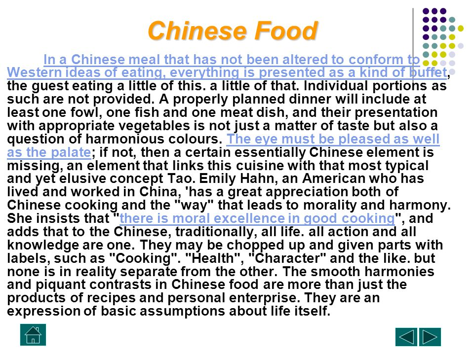 Chinese Food Chinese Food There is no doubt that the traditional high-quality Chinese meal is a serious matter, fastidiously prepared and fastidiously