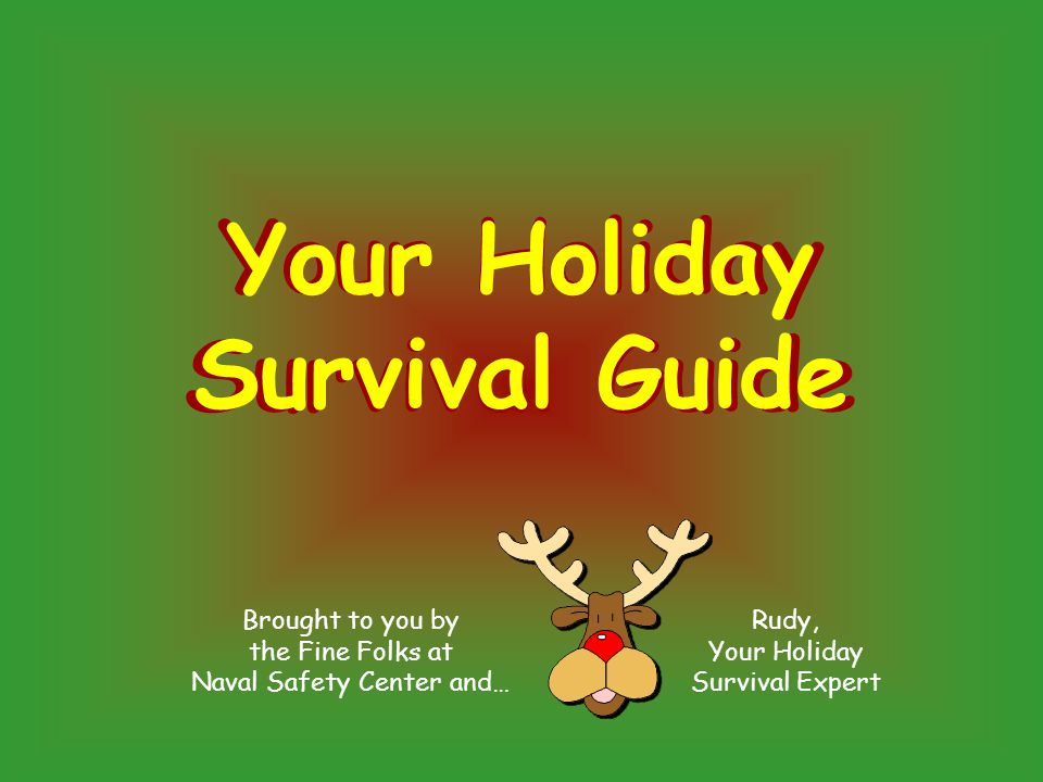 Brought to you by the Fine Folks at Naval Safety Center and… Rudy, Your Holiday Survival Expert Your Holiday Survival Guide Your Holiday Survival Guide