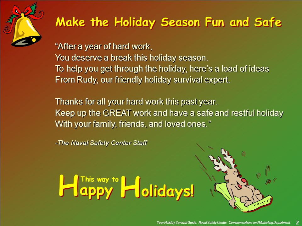 Your Holiday Survival Guide. Naval Safety Center.