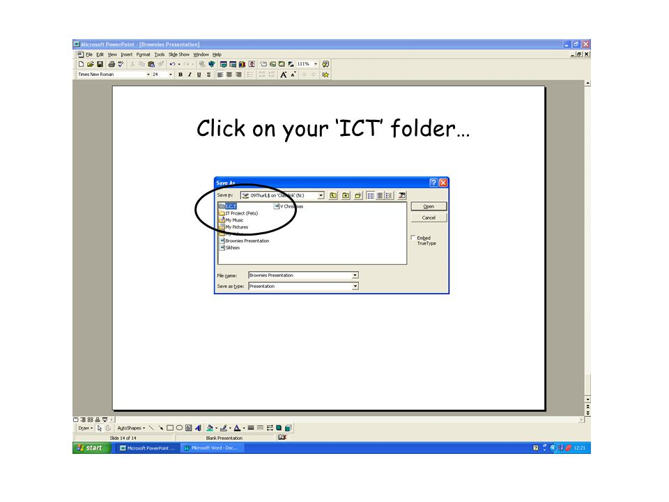 Click on your 'ICT' folder…