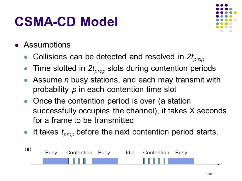 CSMA-CD Model Assumptions Collisions can be detected and resolved in 2t prop Time slotted in 2t prop slots during contention periods Assume n busy stations, and each may transmit with probability p in each contention time slot Once the contention period is over (a station successfully occupies the channel), it takes X seconds for a frame to be transmitted It takes t prop before the next contention period starts.