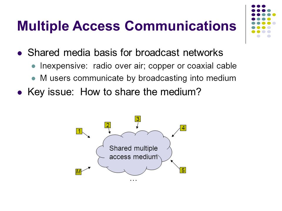 Multiple Access Communications Shared media basis for broadcast networks Inexpensive: radio over air; copper or coaxial cable M users communicate by broadcasting into medium Key issue: How to share the medium.