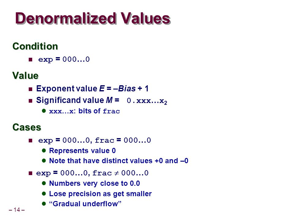 – 14 – Denormalized Values Condition exp = 000 … 0Value Exponent value E = –Bias + 1 Significand value M = 0.xxx … x 2 xxx … x : bits of fracCases exp