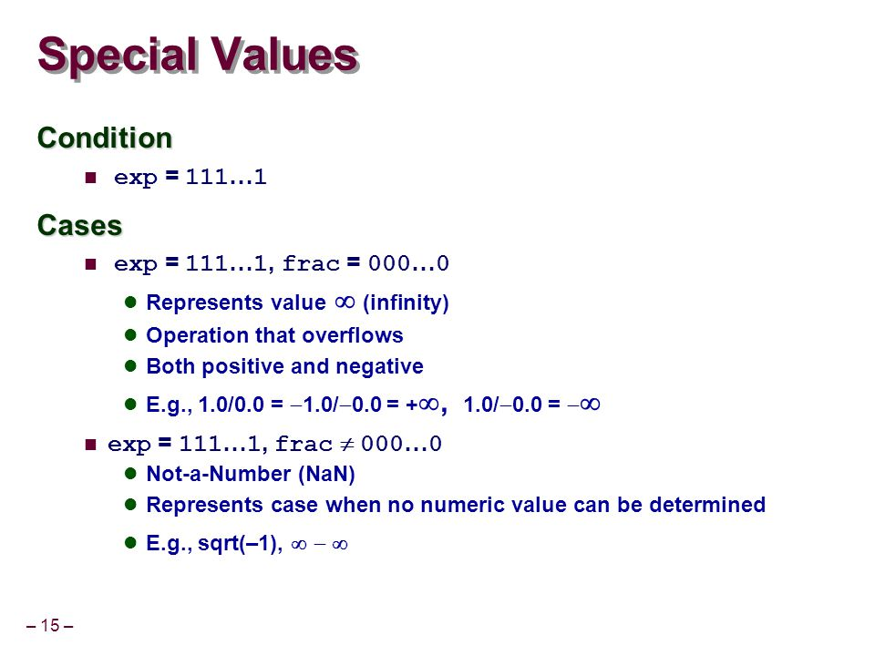 – 15 – Special Values Condition exp = 111 … 1Cases exp = 111 … 1, frac = 000 … 0 Represents value   (infinity) Operation that overflows Both positive and negative E.g., 1.0/0.0 =  1.0/  0.0 = + , 1.0/  0.0 =   exp = 111 … 1, frac  000 … 0 Not-a-Number (NaN) Represents case when no numeric value can be determined E.g., sqrt(–1), 