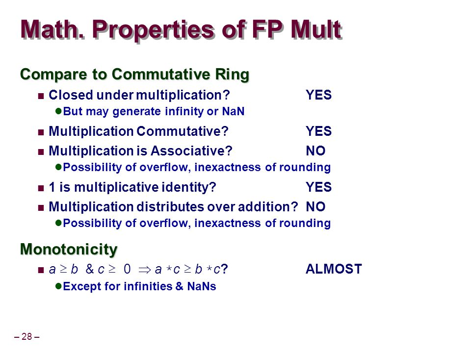 – 28 – Math. Properties of FP Mult Compare to Commutative Ring Closed under multiplication?YES But may generate infinity or NaN Multiplication Commuta