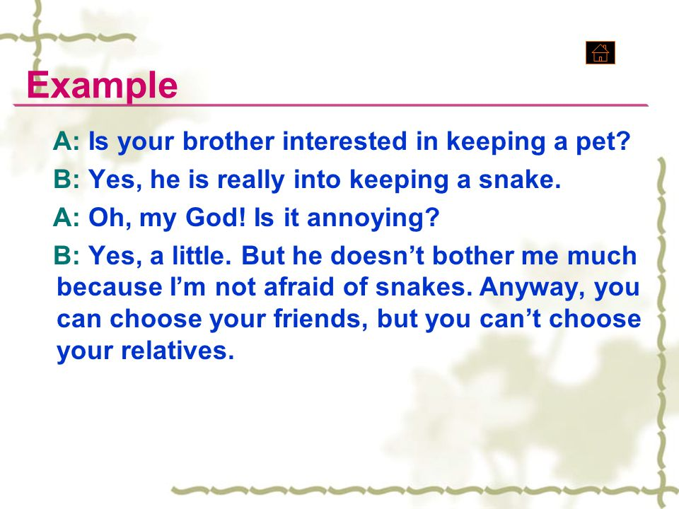 Example A: Is your brother interested in keeping a pet? B: Yes, he is really into keeping a snake. A: Oh, my God! Is it annoying? B: Yes, a little. Bu