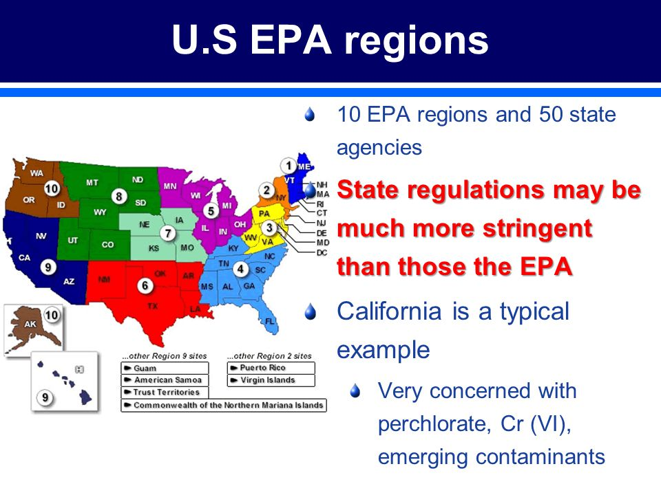 U.S EPA regions 10 EPA regions and 50 state agencies State regulations may be much more stringent than those the EPA California is a typical example Very concerned with perchlorate, Cr (VI), emerging contaminants