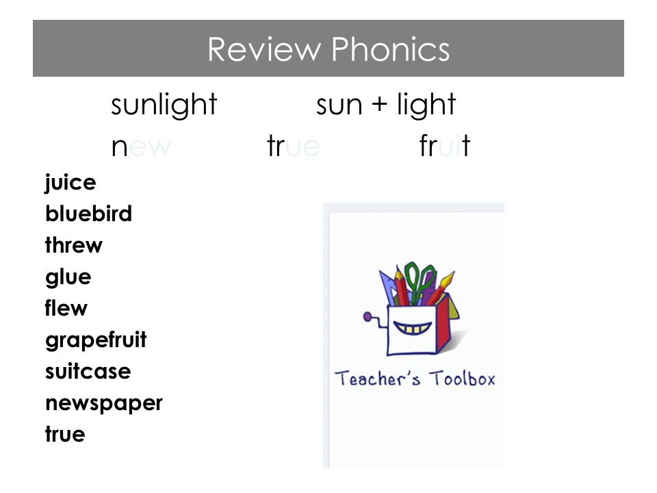 Review Phonics sunlight sun + light new true fruit juice bluebird threw glue flew grapefruit suitcase newspaper true