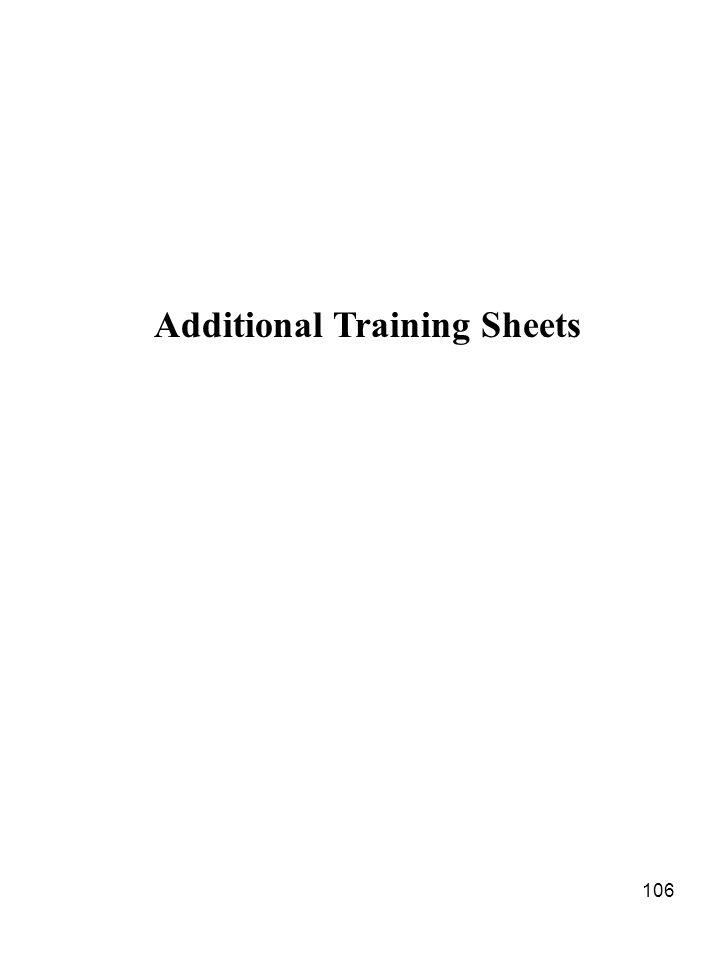106 Additional Training Sheets
