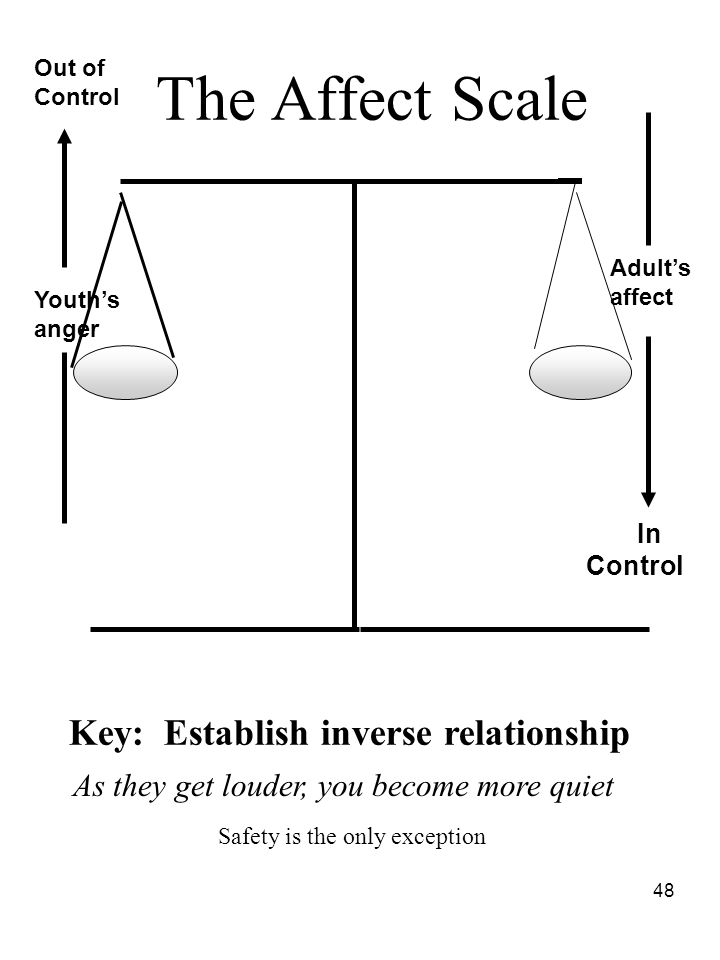 48 The Affect Scale Youth's anger In Control Key: Establish inverse relationship Adult's affect As they get louder, you become more quiet Out of Contr