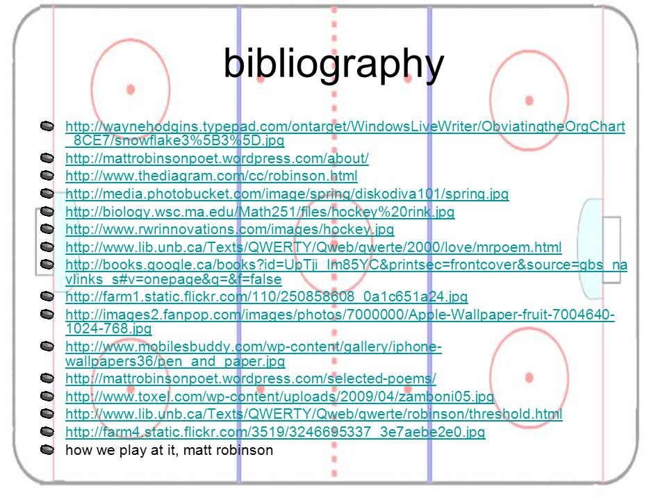 bibliography http://waynehodgins.typepad.com/ontarget/WindowsLiveWriter/ObviatingtheOrgChart _8CE7/snowflake3%5B3%5D.jpg http://mattrobinsonpoet.wordpress.com/about/ http://www.thediagram.com/cc/robinson.html http://media.photobucket.com/image/spring/diskodiva101/spring.jpg http://biology.wsc.ma.edu/Math251/files/hockey%20rink.jpg http://www.rwrinnovations.com/images/hockey.jpg http://www.lib.unb.ca/Texts/QWERTY/Qweb/qwerte/2000/love/mrpoem.html http://books.google.ca/books id=UpTji_Im85YC&printsec=frontcover&source=gbs_na vlinks_s#v=onepage&q=&f=false http://farm1.static.flickr.com/110/250858608_0a1c651a24.jpg http://images2.fanpop.com/images/photos/7000000/Apple-Wallpaper-fruit-7004640- 1024-768.jpg http://www.mobilesbuddy.com/wp-content/gallery/iphone- wallpapers36/pen_and_paper.jpg http://mattrobinsonpoet.wordpress.com/selected-poems/ http://www.toxel.com/wp-content/uploads/2009/04/zamboni05.jpg http://www.lib.unb.ca/Texts/QWERTY/Qweb/qwerte/robinson/threshold.html http://farm4.static.flickr.com/3519/3246695337_3e7aebe2e0.jpg how we play at it, matt robinson