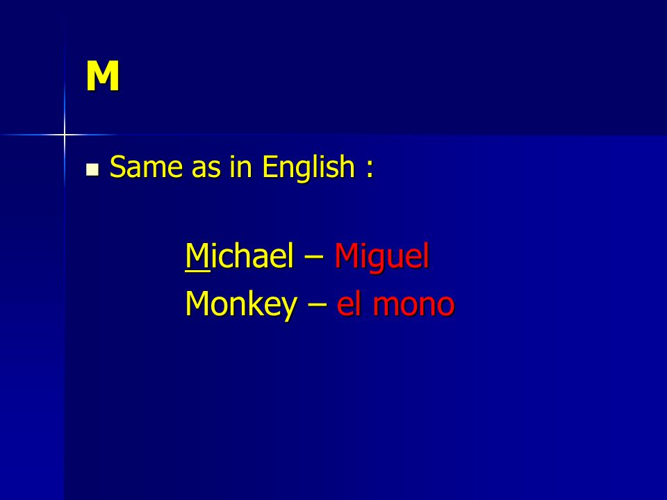 M Same as in English : Same as in English : Michael – Miguel Monkey – el mono