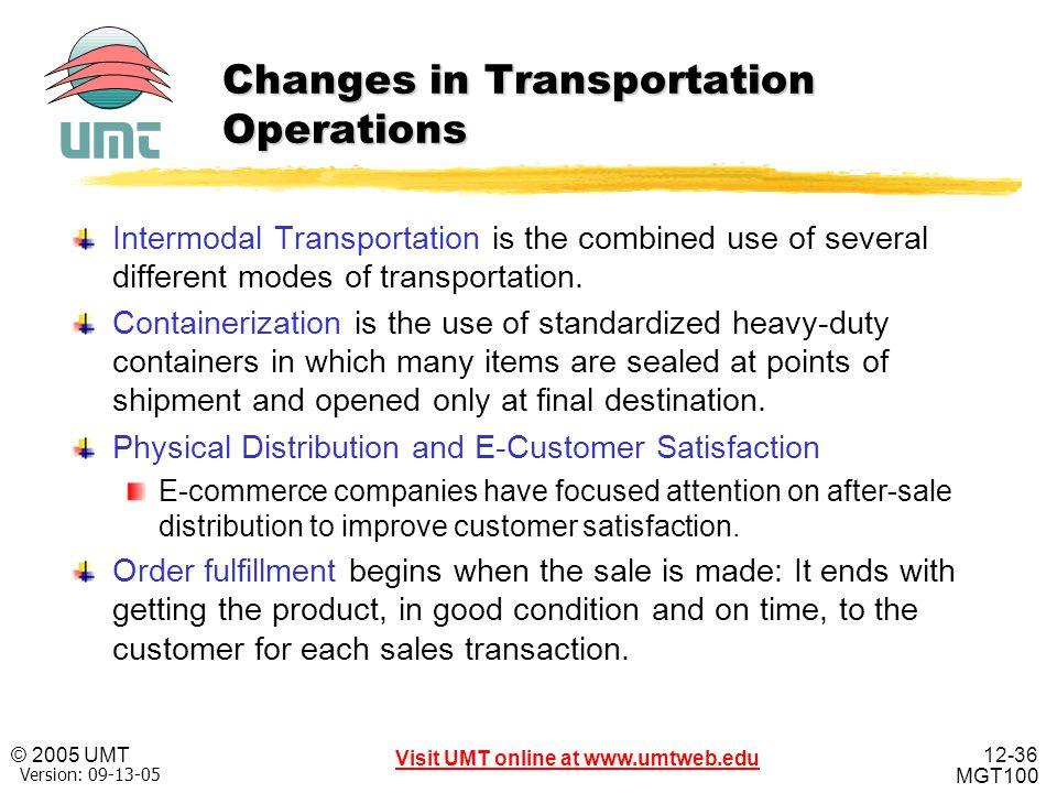 12-36 Visit UMT online at www.umtweb.edu © 2005 UMT MGT100 XP Version: 09-13-05 Changes in Transportation Operations Intermodal Transportation is the