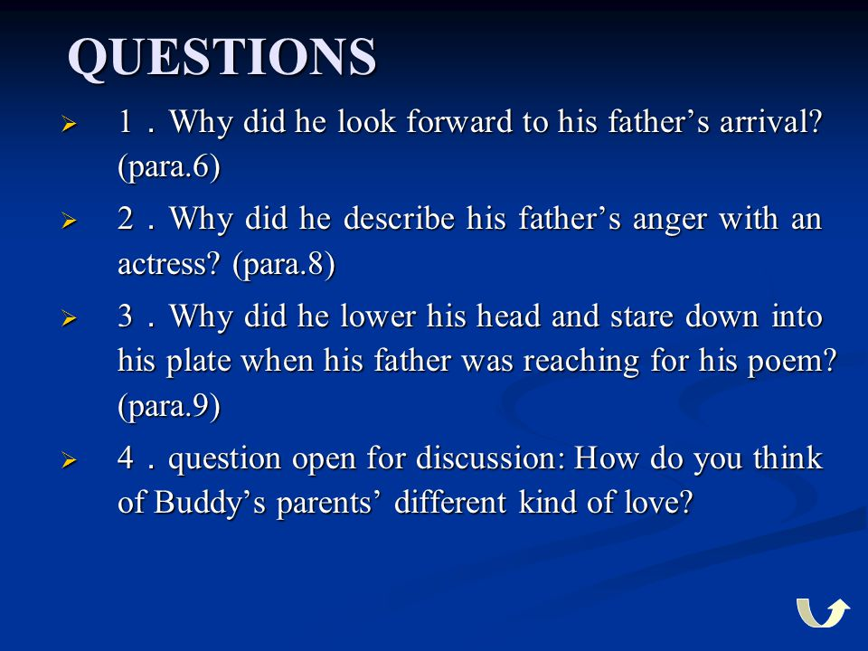 QUESTIONS  1 . Why did he look forward to his father's arrival? (para.6)  2 . Why did he describe his father's anger with an actress? (para.8)  3 .