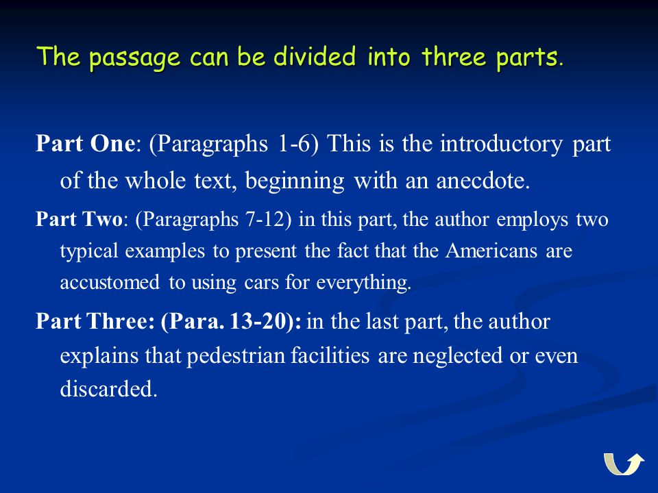 The passage can be divided into three parts. Part One: (Paragraphs 1-6) This is the introductory part of the whole text, beginning with an anecdote. P
