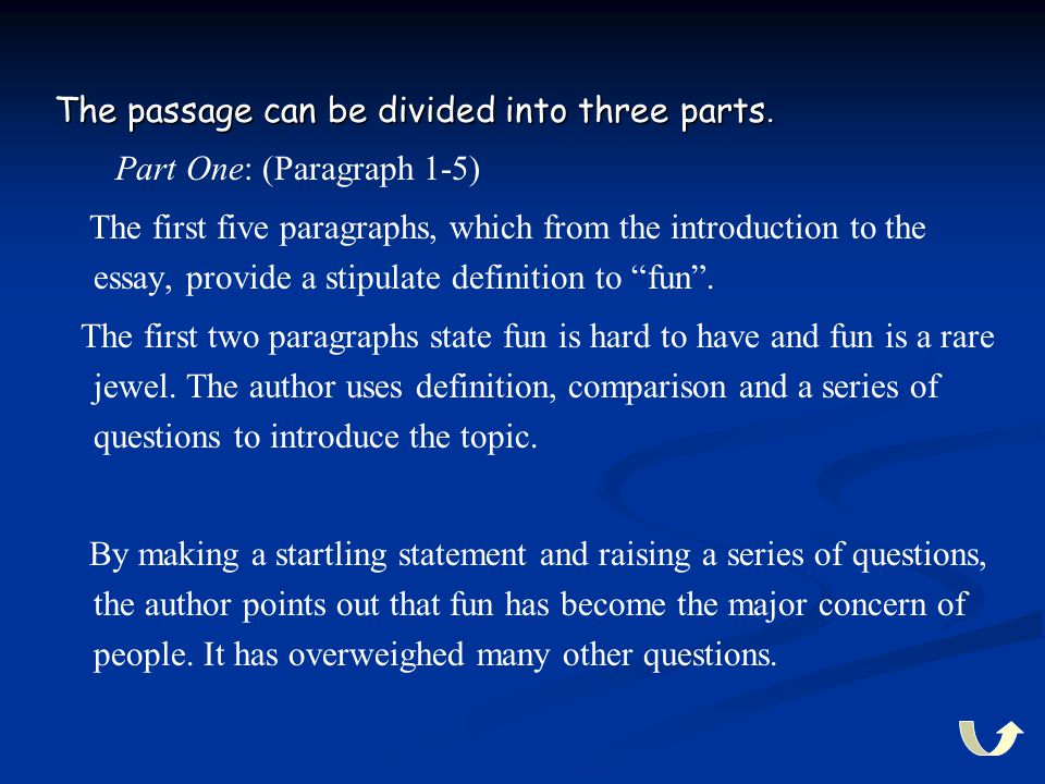 The passage can be divided into three parts. Part One: (Paragraph 1-5) The first five paragraphs, which from the introduction to the essay, provide a