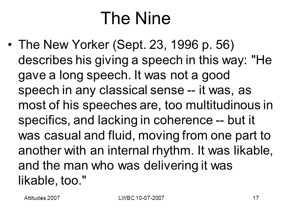Attitudes 2007LWBC 10-07-200717 The Nine The New Yorker (Sept.