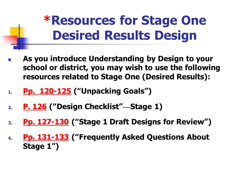 "*Reviewing Your Stage One Design (P. 126, "" Design Checklist-Stage 1) Ensure alignment among your established goals, EUs, EQs, and K-S objectives. Avo"