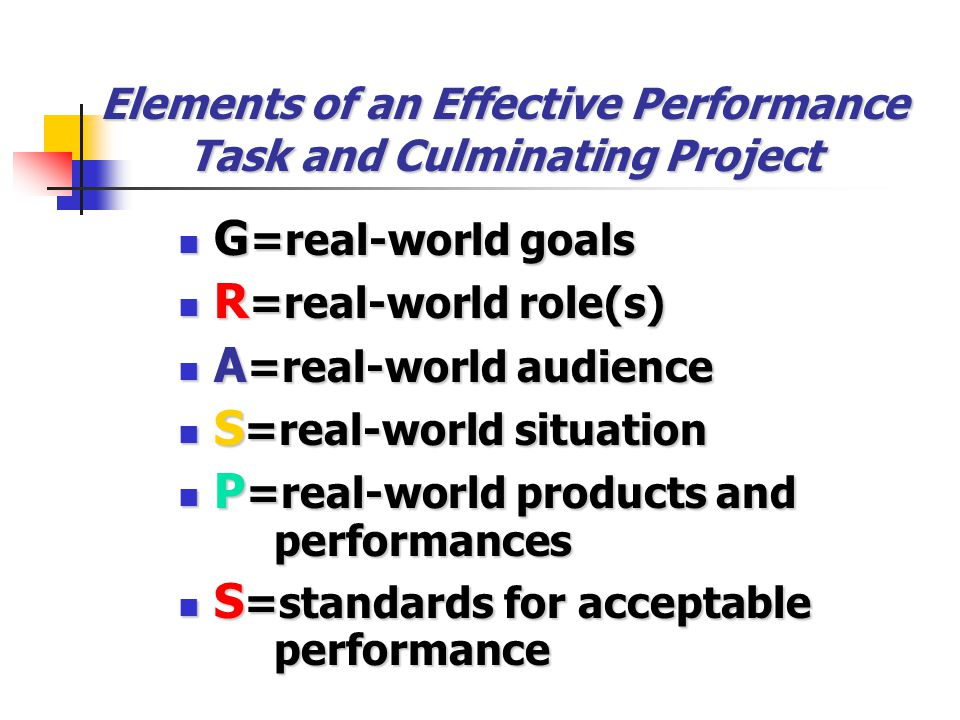 Distinguishing Between an Academic Prompt and a Culminating Performance Task and Project (pp. 168-169) In designing performance tasks, we need to ask