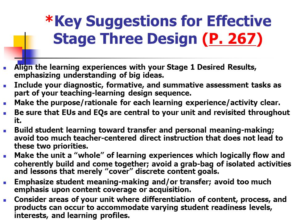 What Can We Observe in a Classroom That Promotes Student Understanding? (pp. 268-269) pages 268-269 As we begin to explore the design of teaching and