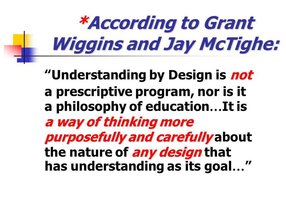 "*Video Clip: ""Understanding by Design"" In this clip, educators and authors McTighe and Wiggins discuss their views on UbD and its long-range goals. As"