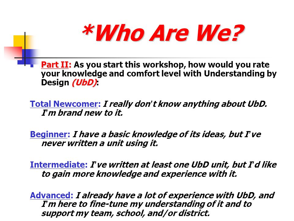*Who Are We.