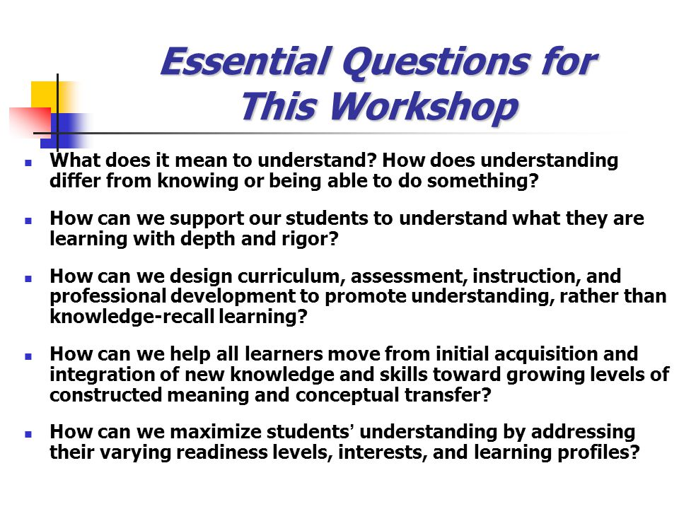 Essential Questions for This Workshop What does it mean to understand.