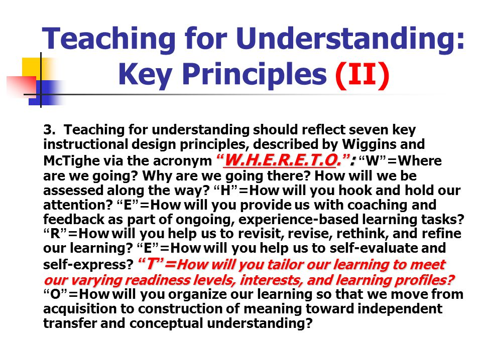 Enabling Knowledge Objectives Now that you ' ve established what you want students to understand (via enduring understandings and essential questions), you ' ll need to determine: know What should students know in order to achieve these understandings and complete the unit successfully.