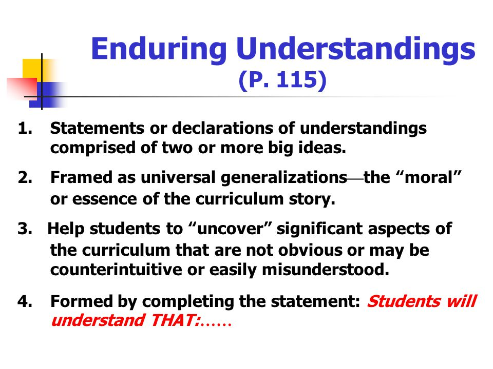 Introducing Enduring Understandings: A Concept-Attainment Activity (P. 107) Examine the examples on P. 107 to determine the common characteristics of