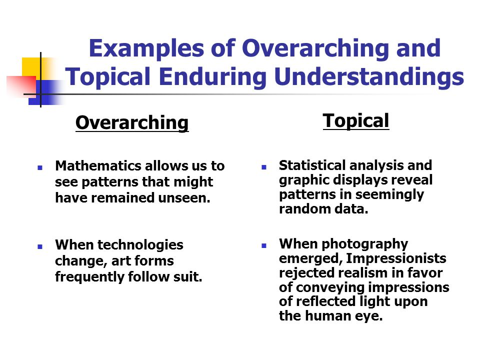 Overarching vs.Topical Understandings (P. 114) Enduring understandings vary according to their scope and level of generalization. An overarching under