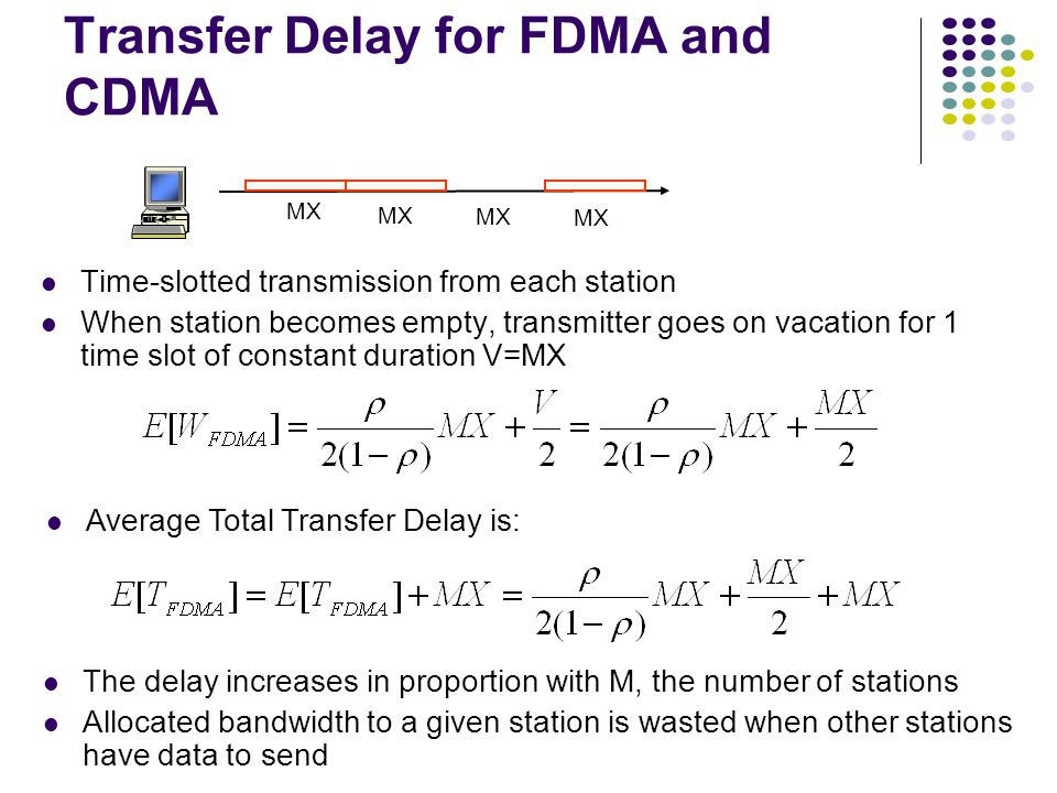 Transfer Delay for FDMA and CDMA Time-slotted transmission from each station When station becomes empty, transmitter goes on vacation for 1 time slot of constant duration V=MX MX Average Total Transfer Delay is: The delay increases in proportion with M, the number of stations Allocated bandwidth to a given station is wasted when other stations have data to send