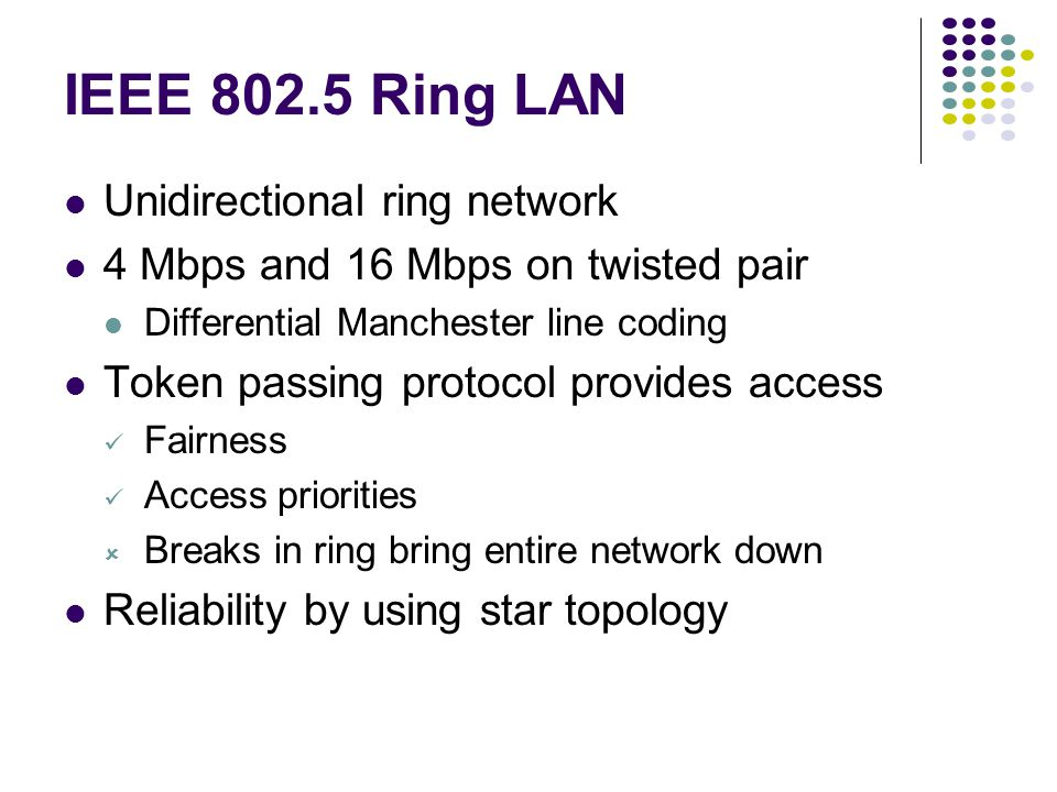IEEE 802.5 Ring LAN Unidirectional ring network 4 Mbps and 16 Mbps on twisted pair Differential Manchester line coding Token passing protocol provides access Fairness Access priorities  Breaks in ring bring entire network down Reliability by using star topology