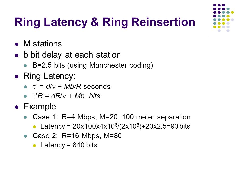 Ring Latency & Ring Reinsertion M stations b bit delay at each station B=2.5 bits (using Manchester coding) Ring Latency:  ' = d/ + Mb/R seconds  'R = dR/ + Mb bits Example Case 1: R=4 Mbps, M=20, 100 meter separation Latency = 20x100x4x10 6 /(2x10 8 )+20x2.5=90 bits Case 2: R=16 Mbps, M=80 Latency = 840 bits