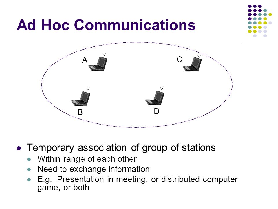 B D C A Ad Hoc Communications Temporary association of group of stations Within range of each other Need to exchange information E.g.
