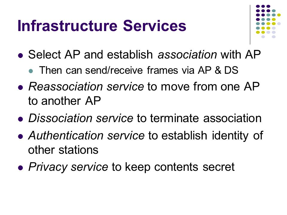 Infrastructure Services Select AP and establish association with AP Then can send/receive frames via AP & DS Reassociation service to move from one AP to another AP Dissociation service to terminate association Authentication service to establish identity of other stations Privacy service to keep contents secret