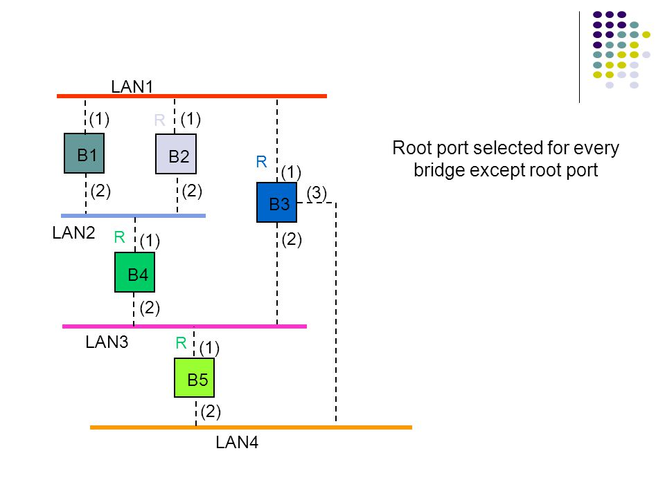 LAN1 LAN2 LAN3 B1 B2 B3 B4 B5 LAN4 (1) (2) (1) (2) (3) Root port selected for every bridge except root port R R R R