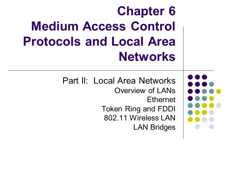 Other Ring Functions Priority Operation PPP provides 8 levels of priority Stations wait for token of equal or lower priority Use RRR bits to bid up priority of next token Ring Maintenance Sending station must remove its frames Error conditions Orphan frames, disappeared token, frame corruption Active monitor station responsible for removing orphans