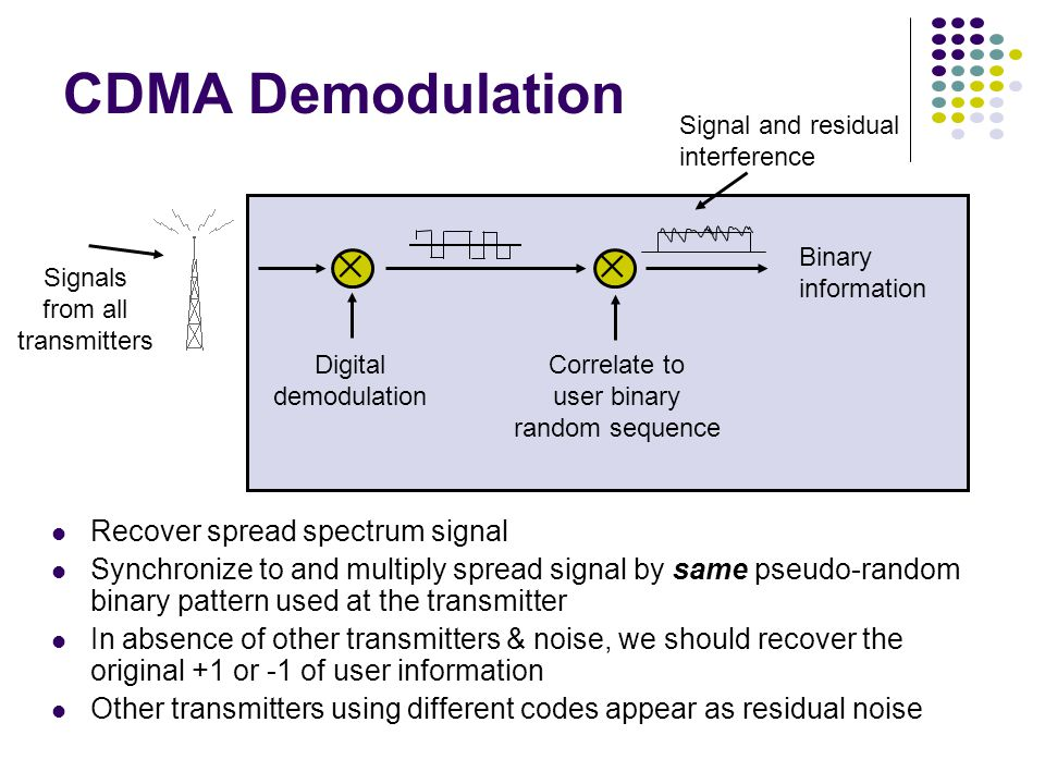 Signal and residual interference Correlate to user binary random sequence Signals from all transmitters Digital demodulation Binary information  CDMA Demodulation Recover spread spectrum signal Synchronize to and multiply spread signal by same pseudo-random binary pattern used at the transmitter In absence of other transmitters & noise, we should recover the original +1 or -1 of user information Other transmitters using different codes appear as residual noise