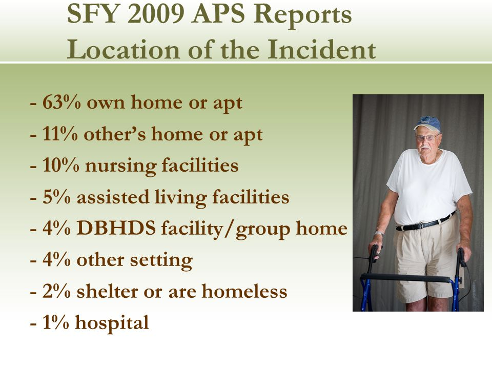 SFY 2009 APS Reports Location of the Incident - 63% own home or apt - 11% other's home or apt - 10% nursing facilities - 5% assisted living facilities