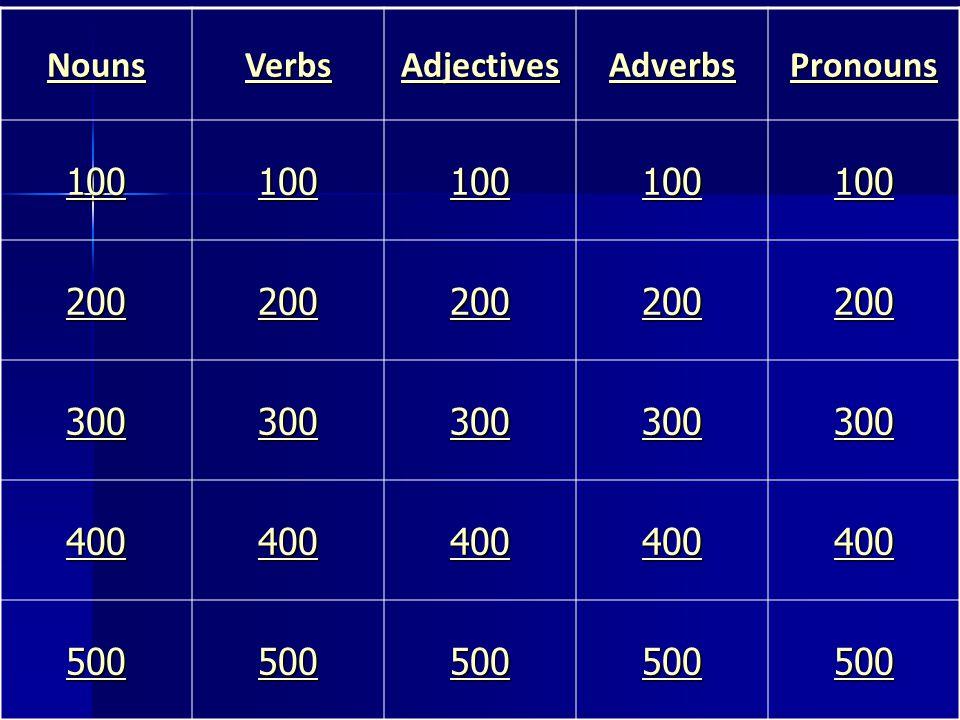Nouns Verbs Adjectives Adverbs Pronouns 100 200 300 400 500