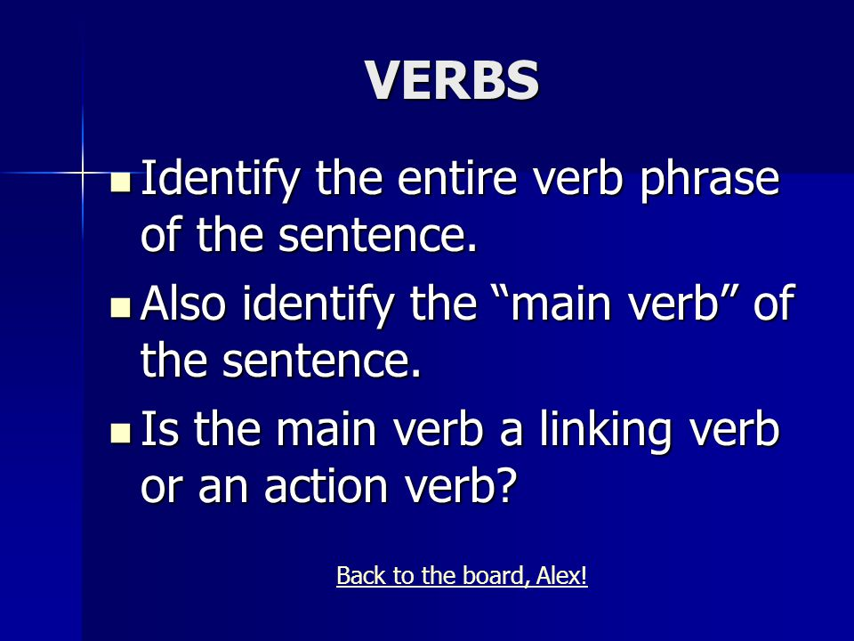 VERBS Identify the entire verb phrase of the sentence.