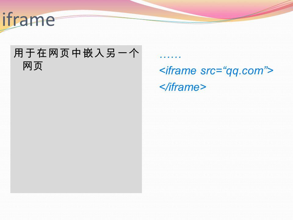 iframe 用于在网页中嵌入另一个 网页 ……