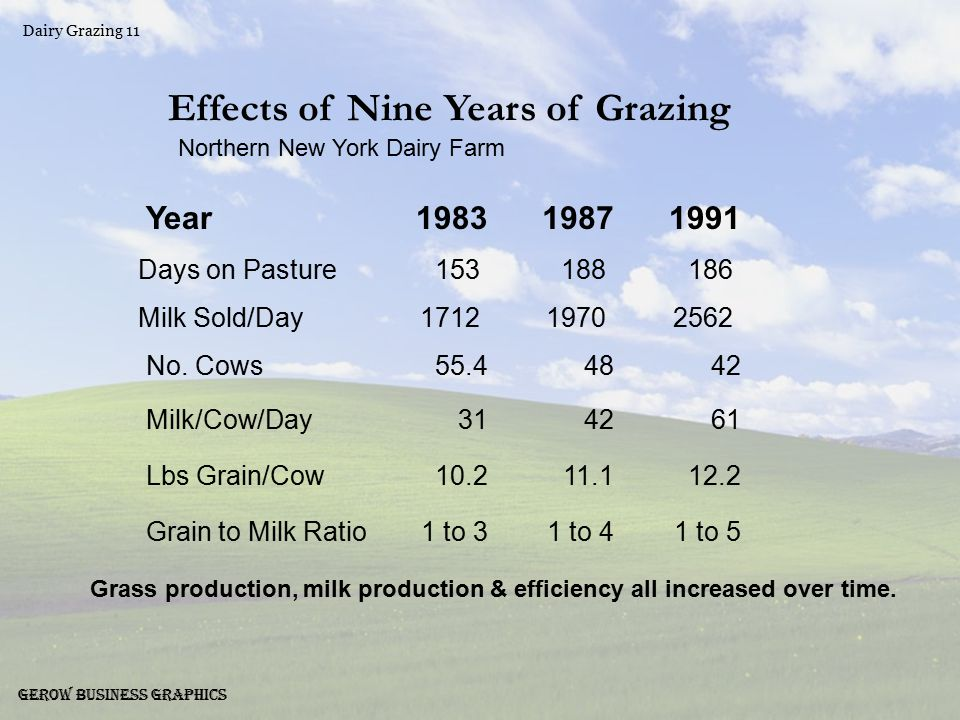 Dairy Grazing 11 Gerow Business Graphics Effects of Nine Years of Grazing Northern New York Dairy Farm Year198319871991 Days on Pasture153188186 Milk Sold/Day171219702562 No.