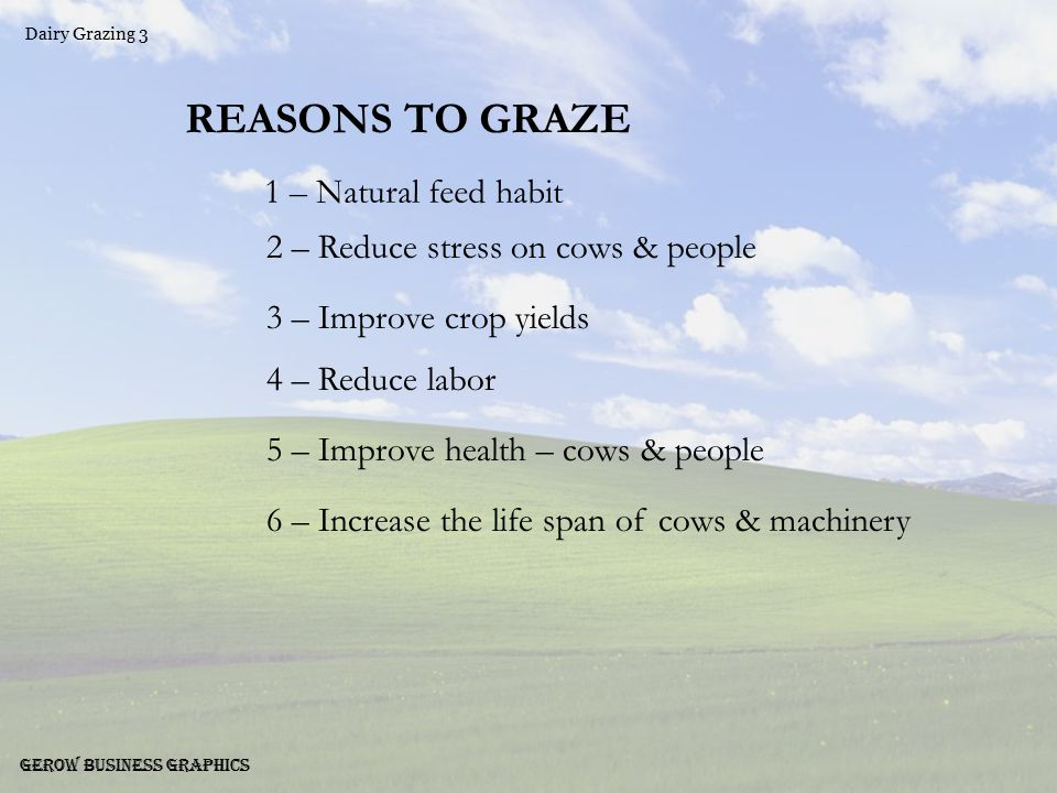 Dairy Grazing 4 Gerow Business Graphics REASONS NOT TO GRAZE 1 – Tractor arming is more fun 2 – We've never done it before 3 – It's the last thing guys do before selling out 4 – Good farmers don't do it 5 – Not modern – not progressive 6 – Lower per unit machinery cost with no pasture