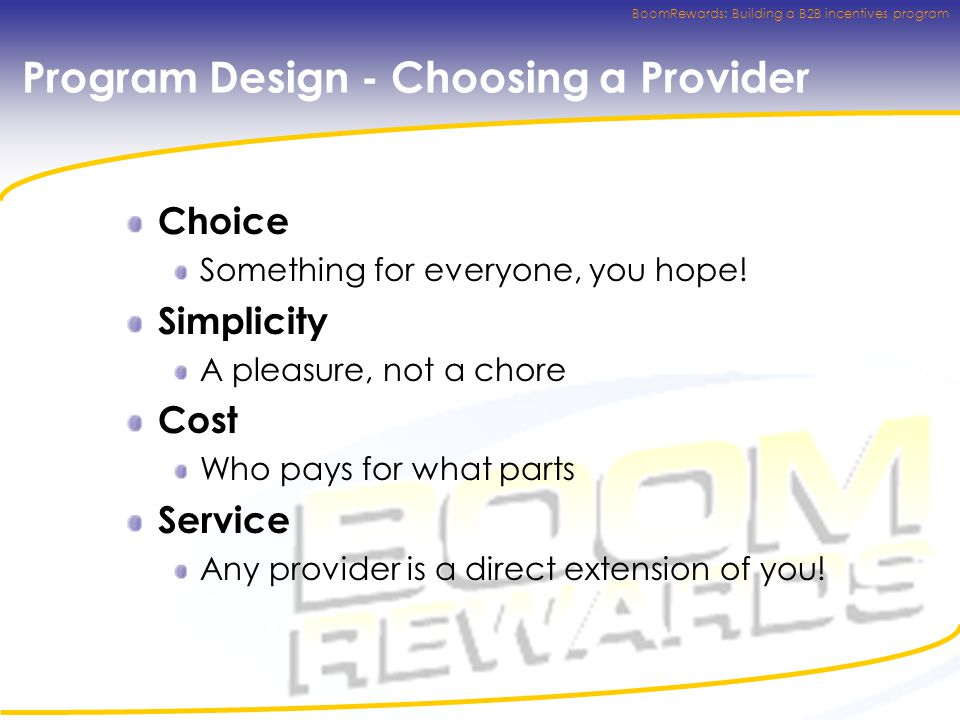 BoomRewards: Building a B2B incentives program Program Design - Choosing a Provider Choice Something for everyone, you hope.