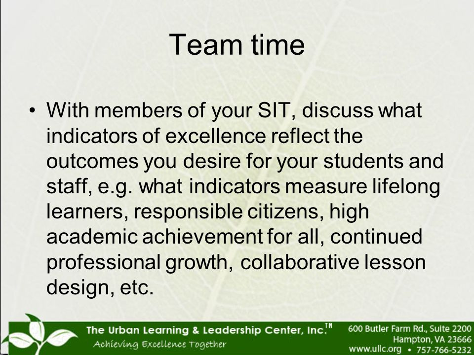 Team time With members of your SIT, discuss what indicators of excellence reflect the outcomes you desire for your students and staff, e.g. what indic